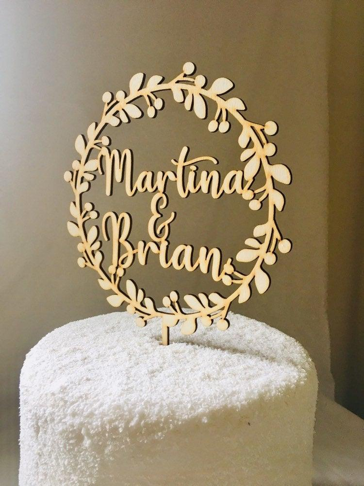 Wedding - Custom Name Wedding Cake Topper , Personalised Wedding Cake Topper, Bridal Shower Topper, Engagement Topper, Modern Wedding Cake Topper.