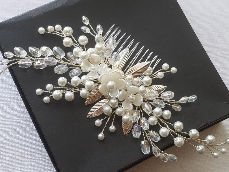 Wedding - Bridal Pearl Hair Comb, White Pearl Crystal Headpiece, Pearl Floral Hairpiece, Wedding Hair Jewelry Bridal Hair Accessories Pearl Hair Piece $31.90