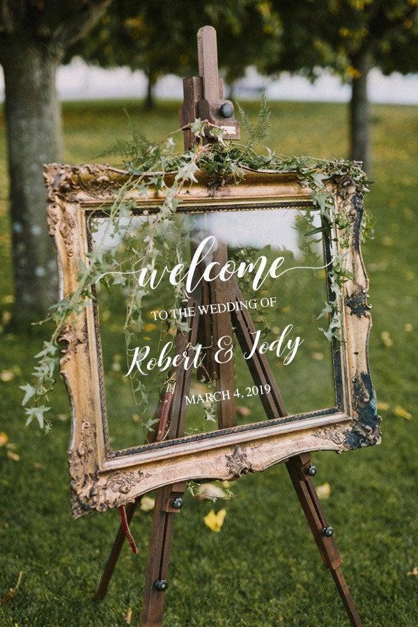 زفاف - Wedding Welcome Sign /Personalized Couples Names and Dates/Mirror Decal-Bridal Shower/Wedding Welcome Sign/Heart Wedding Mirror Vinyl Decal
