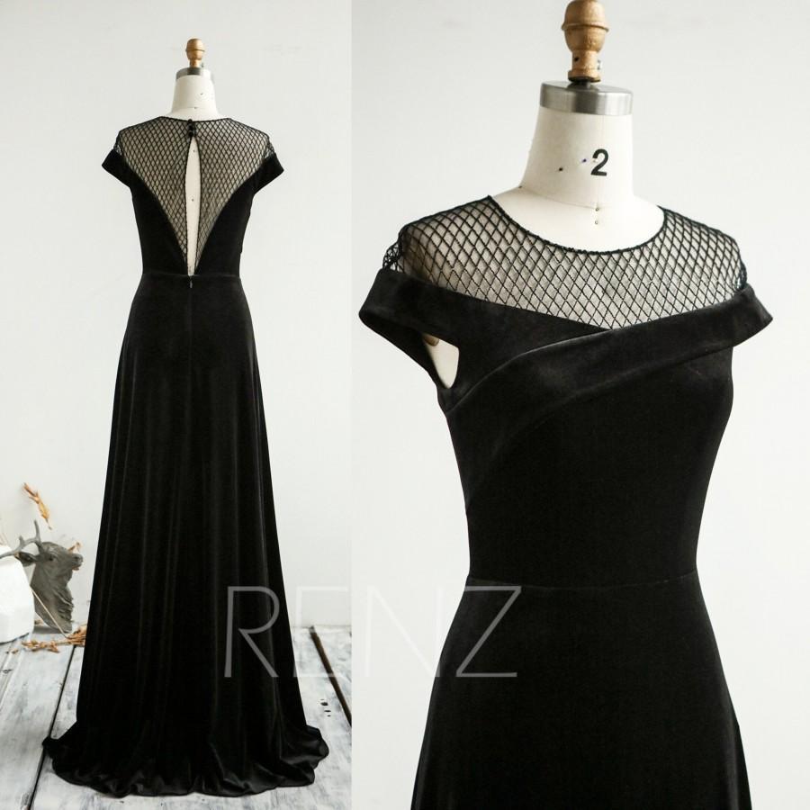Wedding - Formal Dress Black Velvet Bridesmaid Dress Cap Sleeves Wedding Dress Long A-line Party Dress Boat Neck Illusion Net Tulle Prom Dress (HV958)