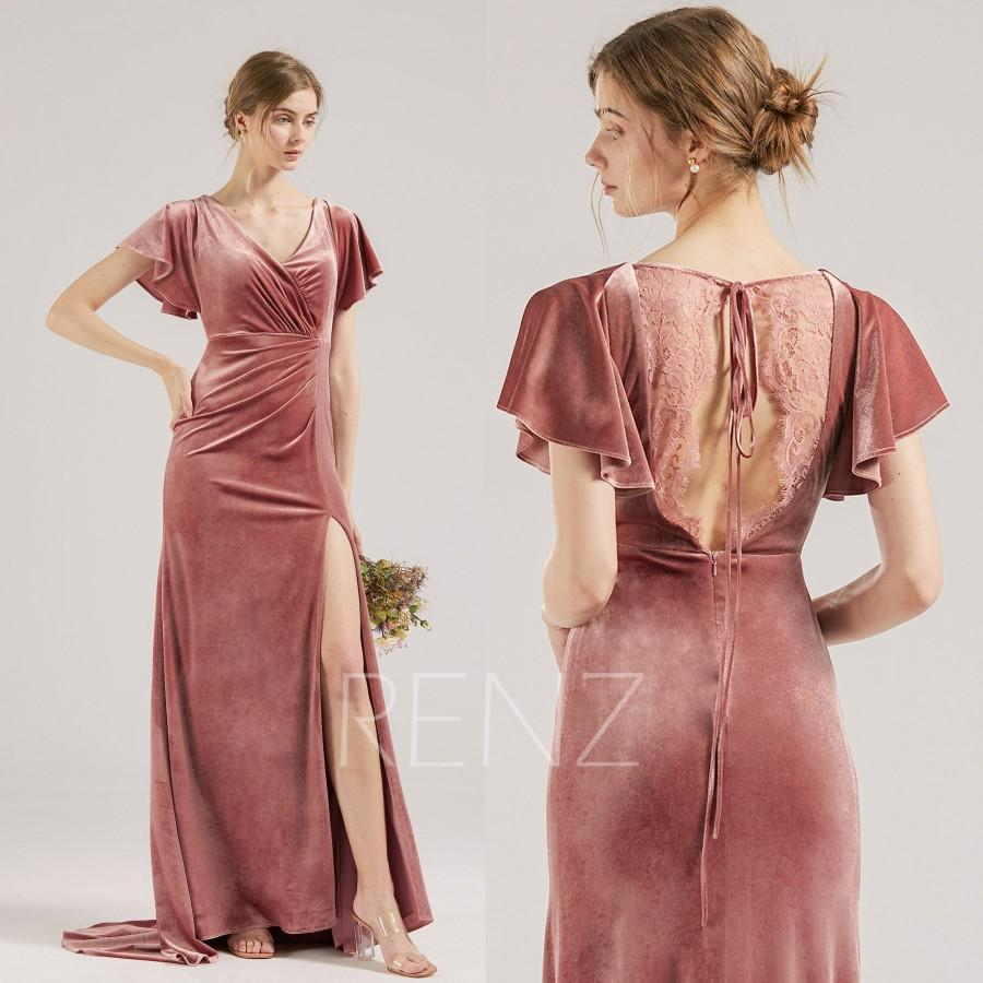 Wedding - Bridesmaid Dress Dusty Rose Velvet Wedding Dress Lace Back Formal Dress with Train Flare Sleeves Evening Dress Long Slit Prom Dress (HV942)
