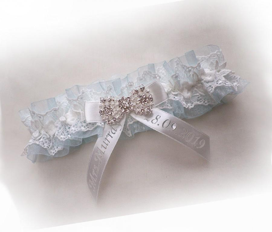 Wedding - Personalized Vintage wedding bridal garter light blue organza light ivory cotton lace