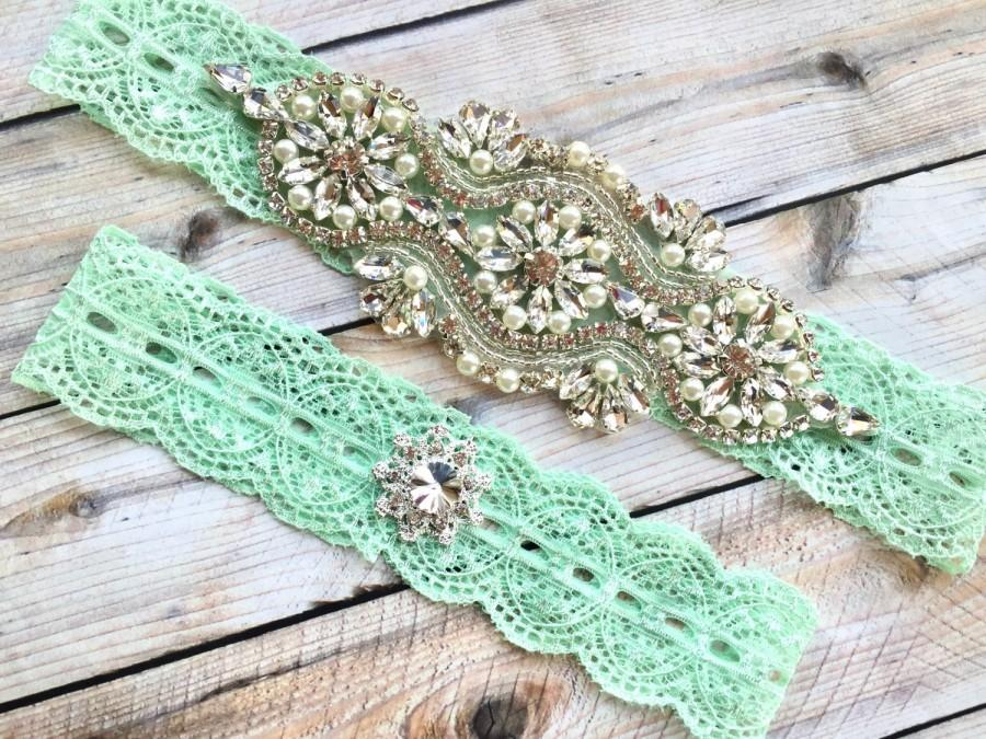 Wedding - Mint Wedding Garter, Mint Garter Set, Mint Green Bridal Garter, Mint Lace Garter, Crystal garters, Garter Set, Rhinestone Garter Set