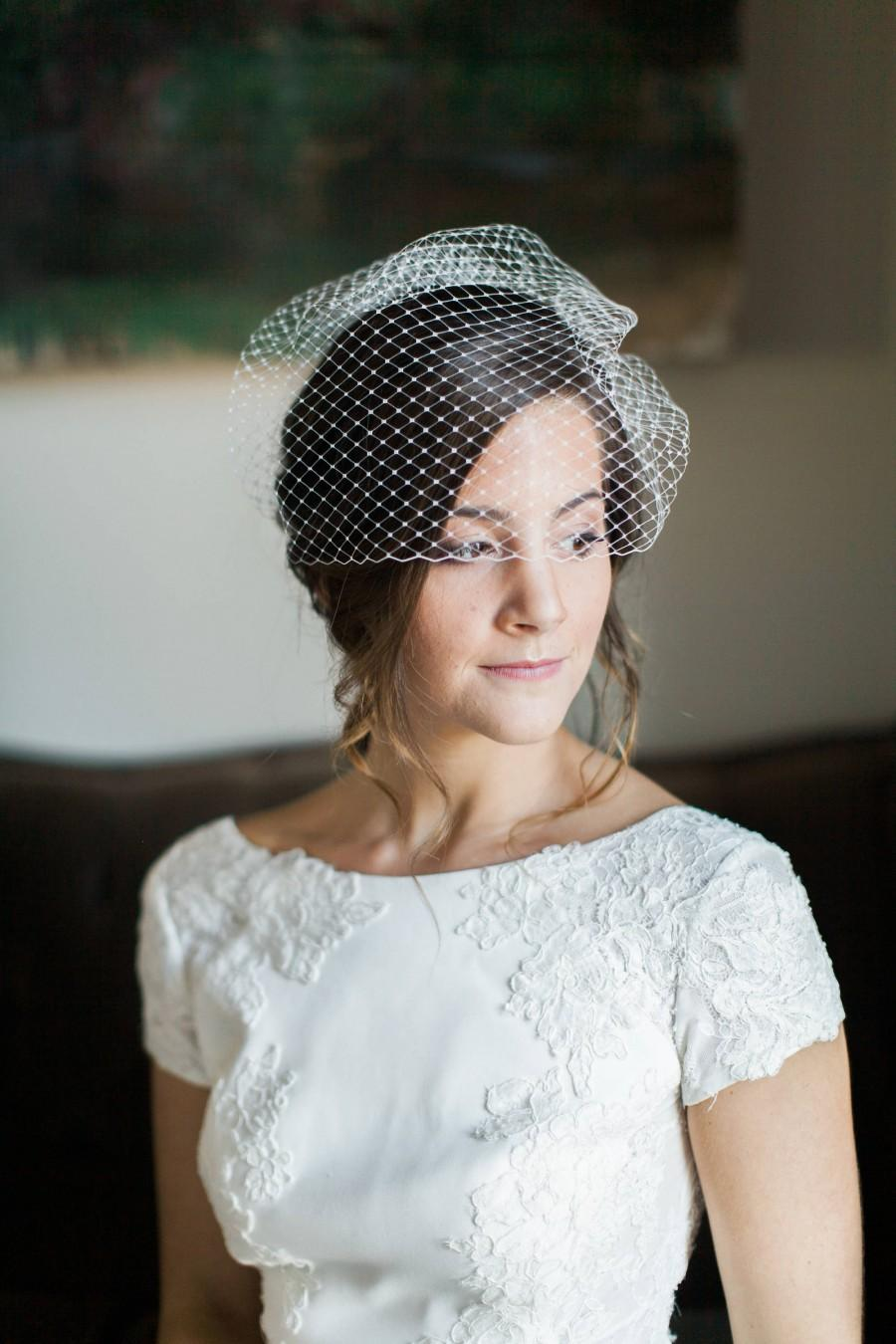 Wedding - Birdcage Veil, Short Veil, Wedding Veil, Blusher Veil, Voilette, Wedding Headpiece, Bridal Headpiece, Bridal Veil- Style 204- Anabelle