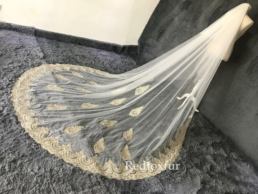 Wedding - Gold lace veil,Cathedral Lace applique veil,2 tiers Veil,blusher veil,Royal lace Veil,Long veil,tulle veil,wedding bridal veil