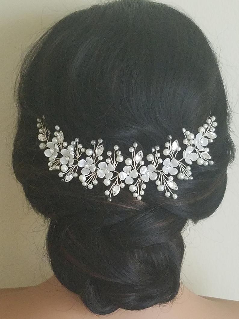 Wedding - Bridal Hair Piece, Wedding Pearl Crystal Headpiece, Ivory Pearl Floral Hairpiece, Bridal Hair Jewelry, Wedding Wreath Flower Pearl Hairpiece $27.50