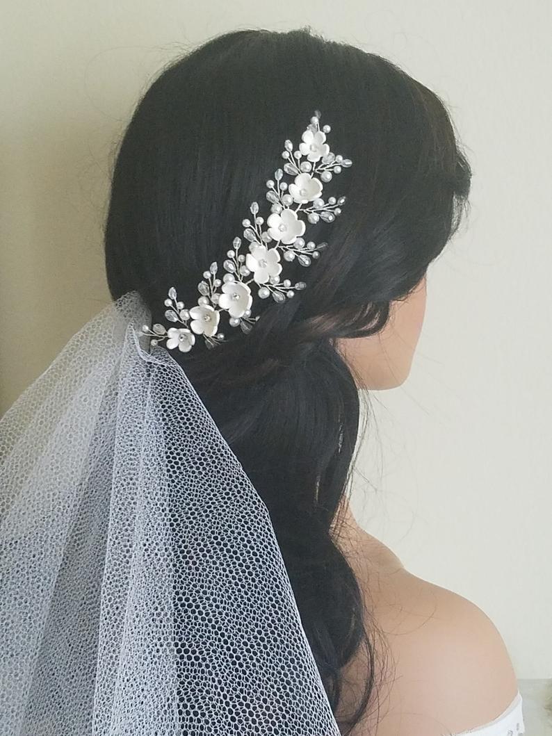 Wedding - Wedding Hair Vine, White Pearl Hair Piece, Bridal Floral Headpiece, Bridal White Flower Wreath, Wedding Pearl Hair Jewelry, Bridal Hair Vine $25.00