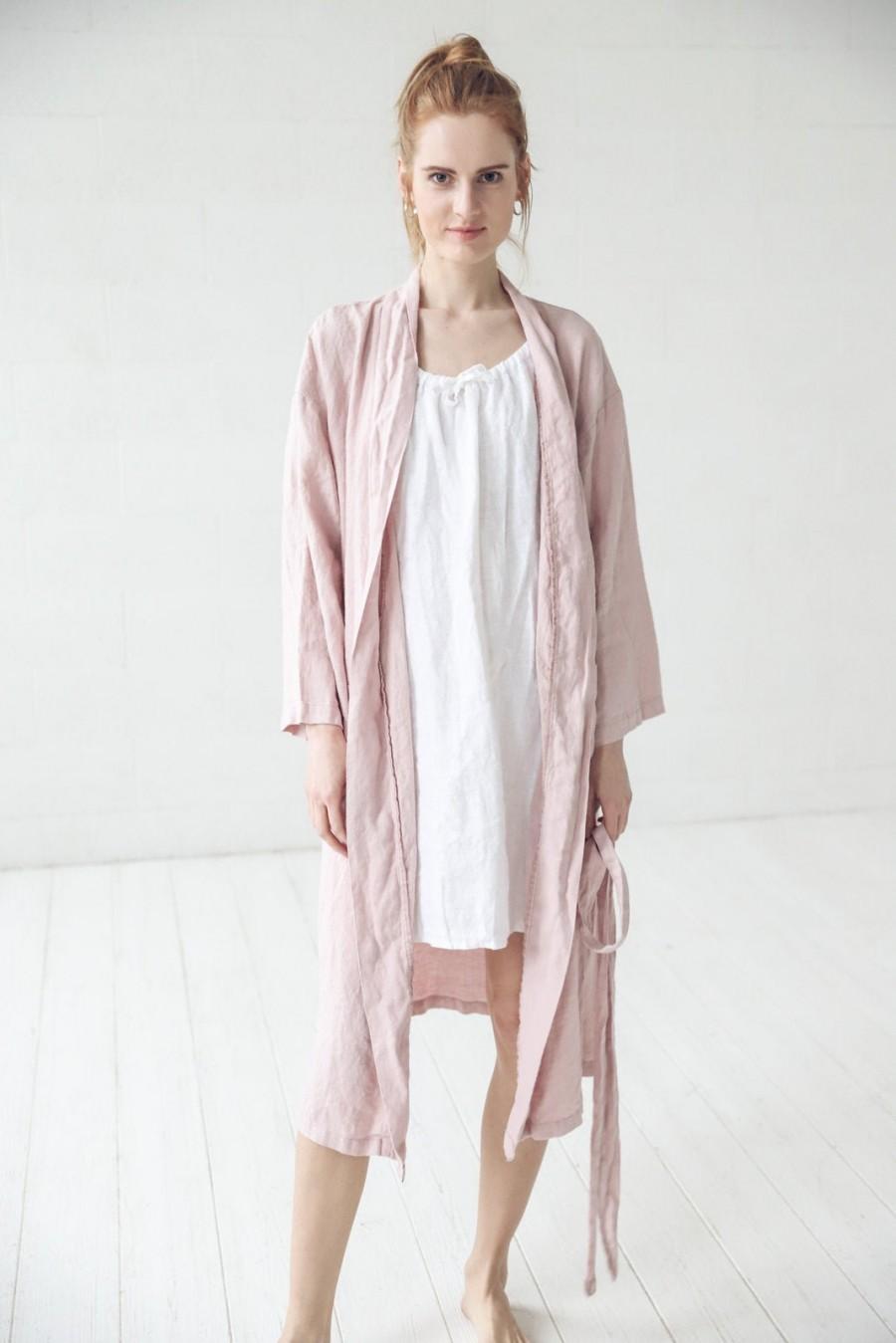 Wedding - Linen Night Gown, Dressing Gown, Long Bath Robe, Handmade Linen Robe