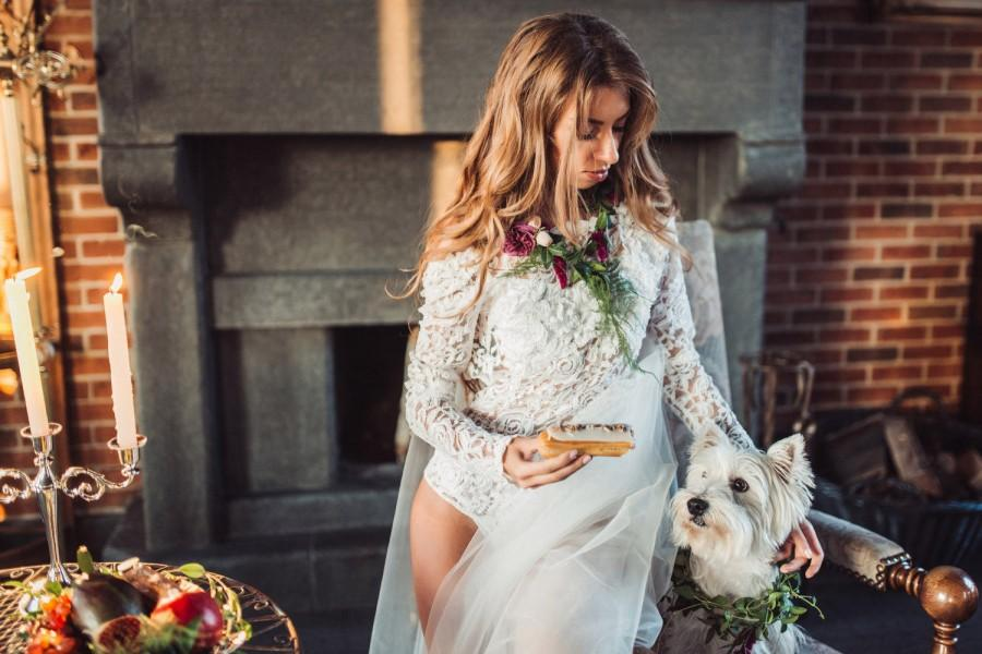 Свадьба - Wedding lace bodysuit, bridal bodysuit with floral appliques and embroidery crystals