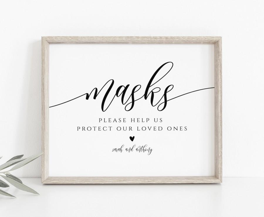 Wedding - Mask Wedding Sign, Social Distance Wedding, Script Wear a Mask Sign, Instant Download, Wedding Masks Printable Sign, TEMPLETT, WLP-SOU 3496