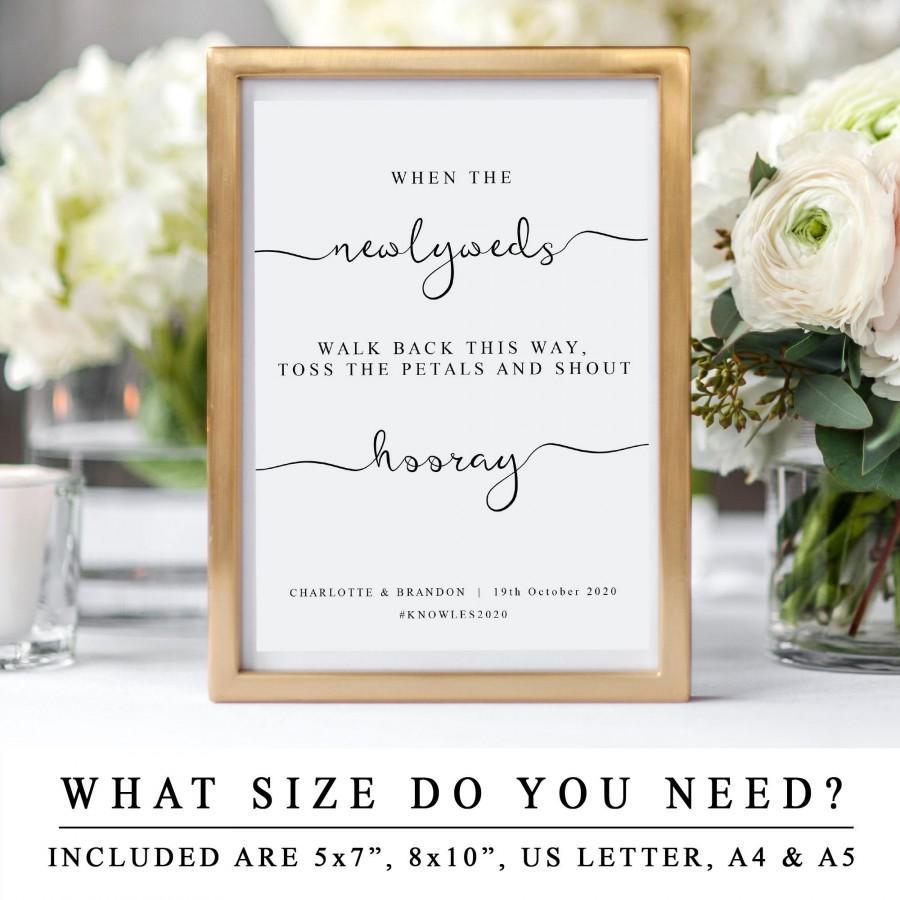 Wedding - Wedding Confetti Toss Sign, Wedding Confetti Bar Template Sign, Wedding Confetti Station, DIY Wedding Toss The Petals And Shout Hooray Sign