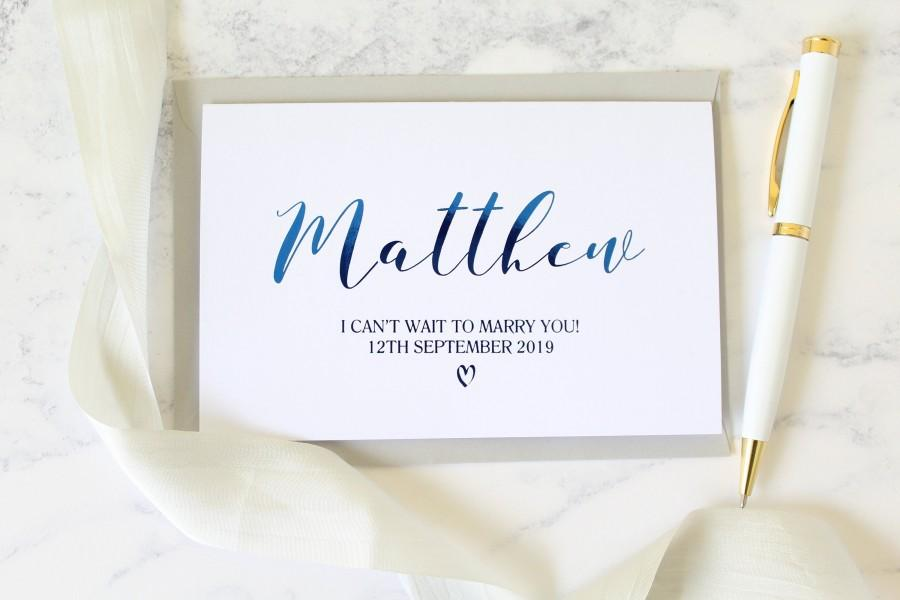 Wedding - I can't wait to marry you card, personalised wedding card, wedding date card, groom card from bride, bride card from groom, wedding day card