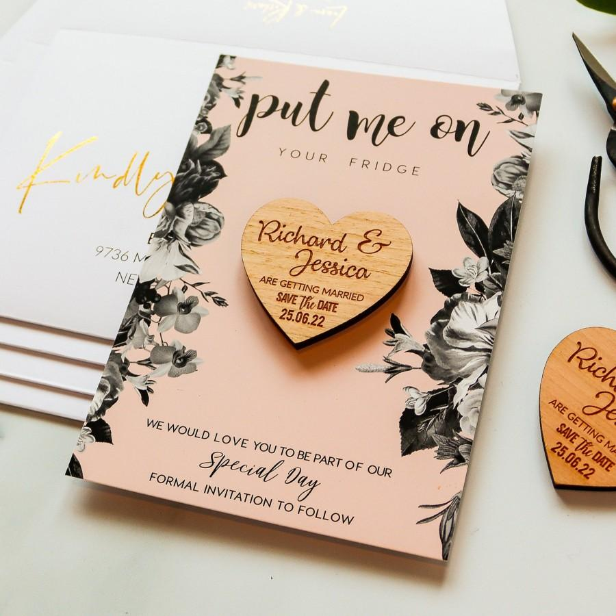 Wedding - Save the Date Magnet + Cards, rustic wedding wood heart with unique blush vintage floral card, custom save the dates ideas + Envelope, Pink