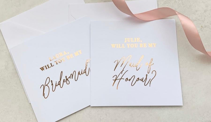 Wedding - Personalised foil will you be my Bridesmaid 5x5 inch wedding card in rose gold, silver, gold or light pink foil
