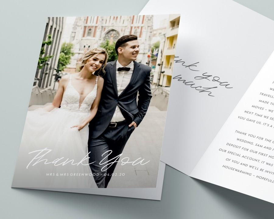 Wedding - Wedding Thank You Cards with Photo, Folded Thank You Wedding Card, Thank You Card Wedding, Personalised Thank You Card, Thank You Cards #097