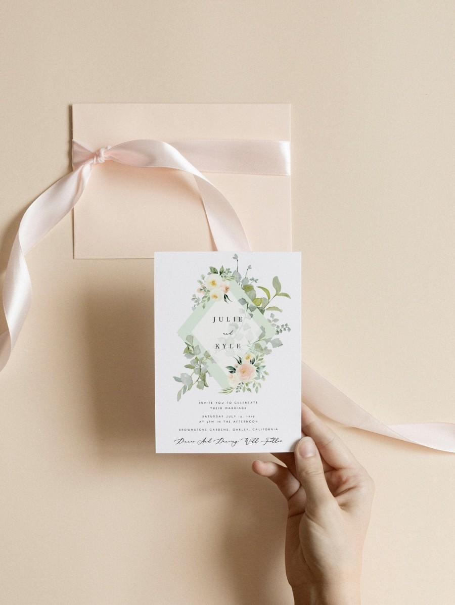Wedding - Greenery Wedding Invitation Template Blush Flower Printable Wedding Invitation DIY Templett PDF Instant Download Editable Rustic Wedding