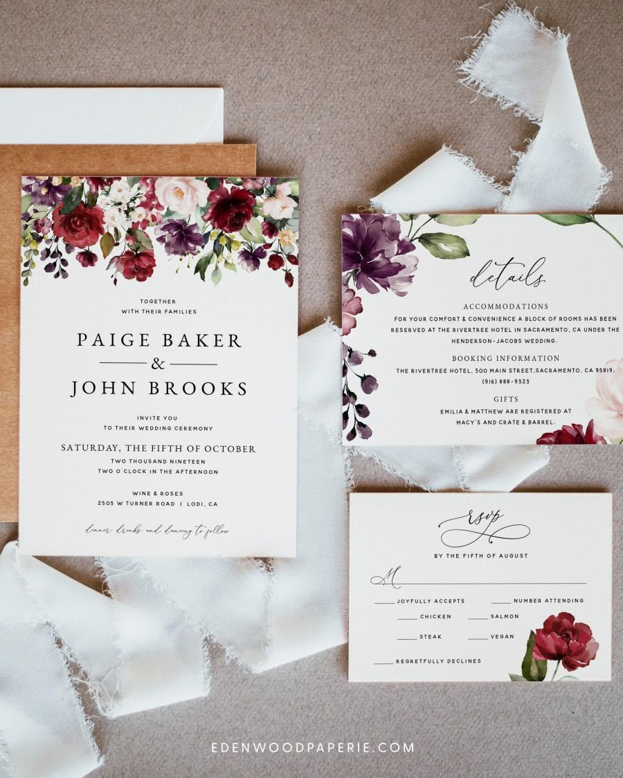 Wedding - Burgundy Wedding Invitation Template, Floral Wedding Invitation Suite Download, Printable Burgundy Wedding Invitation Set Download, #004