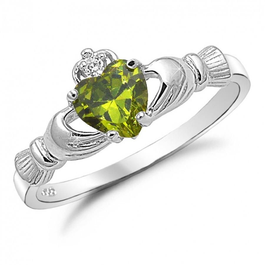 Wedding - Claddagh Ring, August Birthstone Irish Claddgh Ring, Peridot CZ Birsthstone Claddagh Ring, Sterling Silver Traditional Irish Claddagh Ring