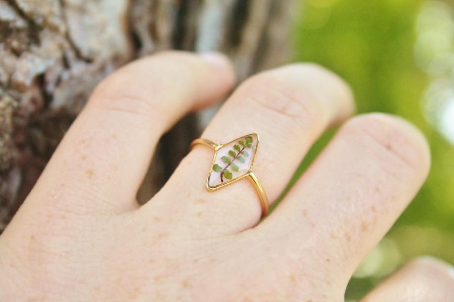 Wedding - US size 6, 7 and 8 / Fern ring Diamond shape ring Resin ring Delicate ring Romantique Gold plated Real pressed fern ring Mother gift Pressed