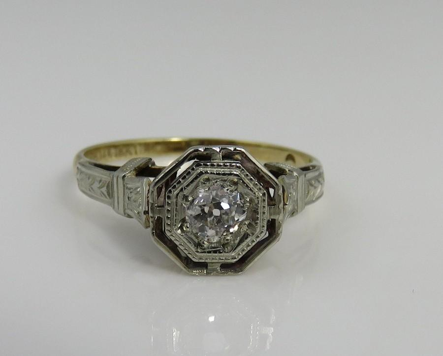 Wedding - Art Deco 18k 14k OB Ostby & Barton Diamond Engagement Ring.