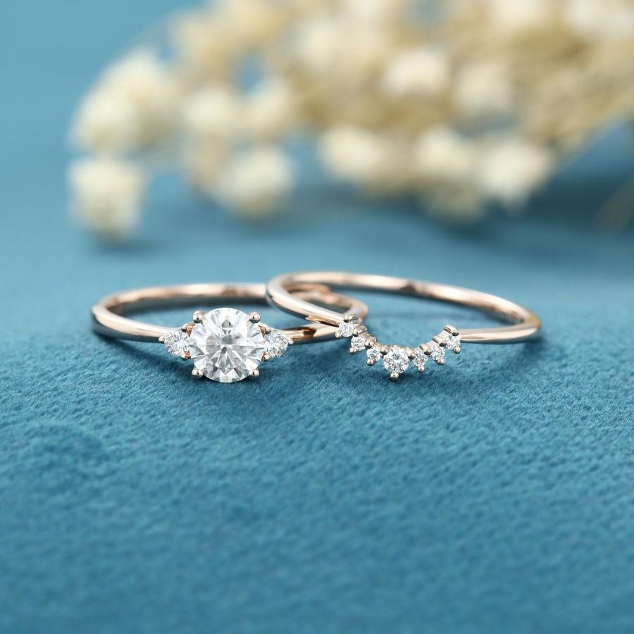 Wedding - Moissanite engagement ring set Unique Cluster Three stone Rose gold engagement ring for women Curved Diamond wedding Bridal Anniversary gift