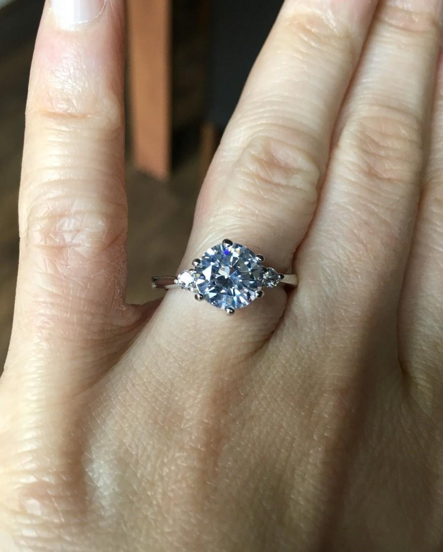 Wedding - Trilogy Diamond Engagement Ring 2 carat solitaire various sizes trilogy 3 stone Man-made diamond diamond stimulant