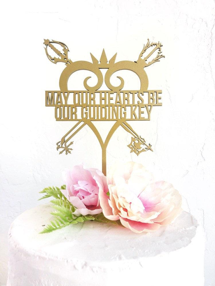 Wedding - May Our Hearts Be Our Guiding Key Cake Topper Oath Keeper and Oblivion- Kingdom Hearts - Wooden Wedding Cake Topper - Gold Silver Rose Gol