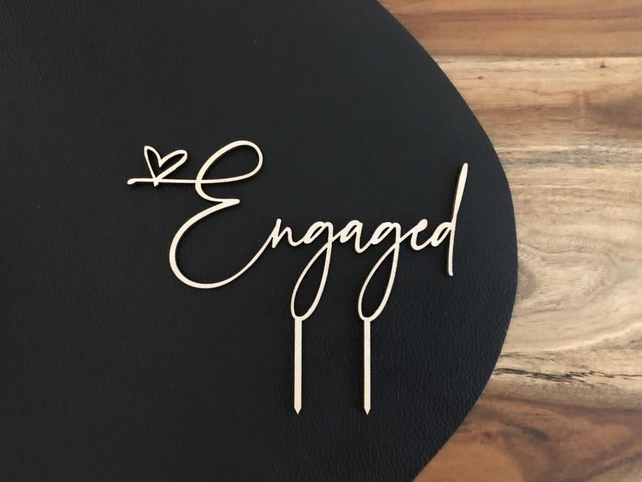 Wedding - ENGAGED CAKE TOPPER, engaged heart cake topper for engagement party, engaged