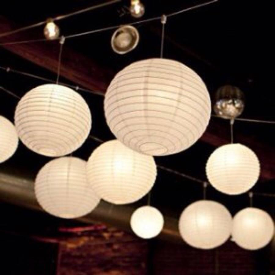 Wedding - 9pcs White Paper Lanterns and LED Bulbs • Wedding Engagement Anniversary Birthday Party Christening Hanging Table Centrepiece Lighting Decor