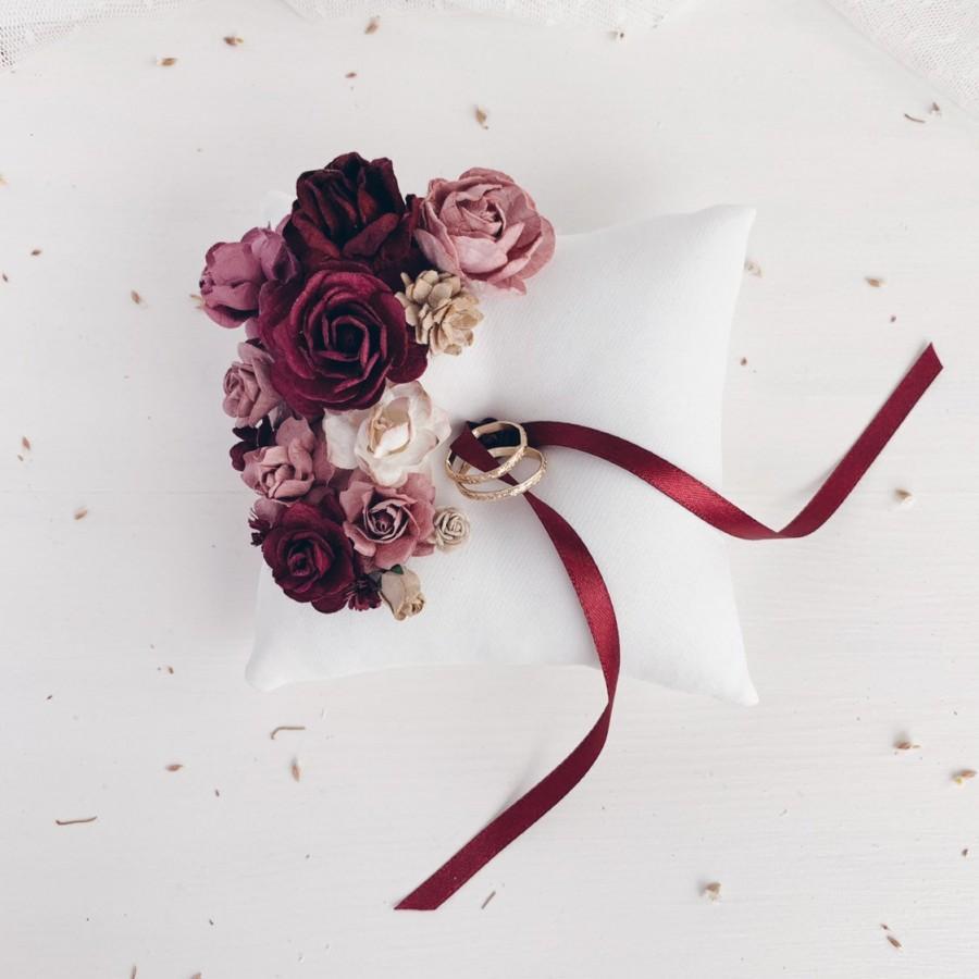 Wedding - Ring bearer pillow, Burgundy ring pillow, Wedding Ring bearer pillow