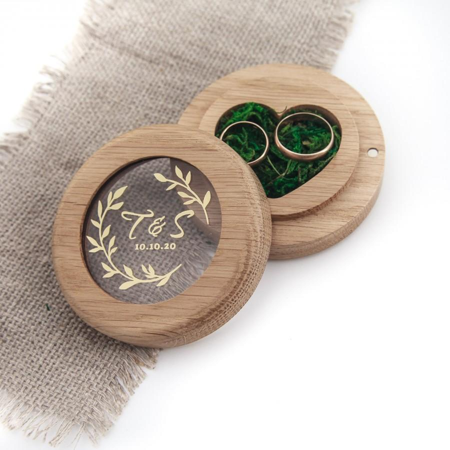 Wedding - Wood  double  ring box new, ring pillow, ringkissen, personalized ring bearer box