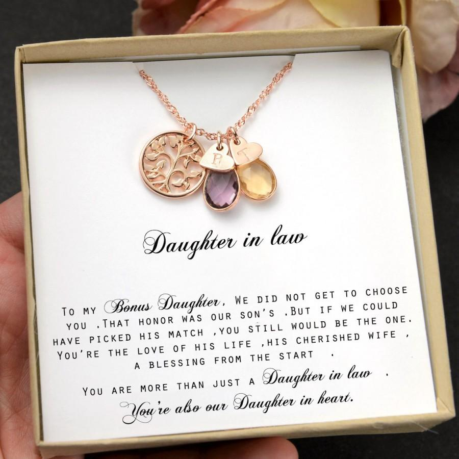 Wedding - Daughter-In-Law Gift Necklace,Wedding Gift,Jewelry From Mother-In Law,Gift for Bride,birthstone necklace,personalized necklace ,family tree