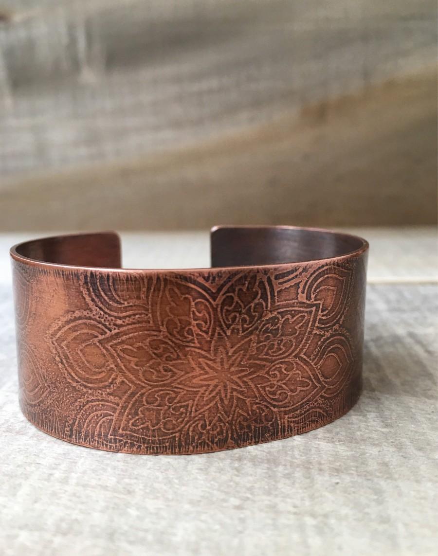 Wedding - Copper Bracelet - 7th Anniversary Gift for Women - Mandala Boho Jewelry - 22nd Anniversary Gift for Wife