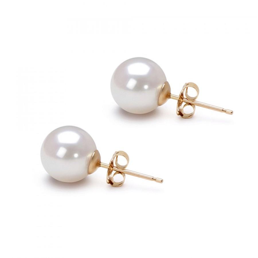 Wedding - Akoya pearl earring studs AAA 5mm-10mm Japanese white pearl earrings for wedding earrings stud, silver earrings setting great holiday gifts