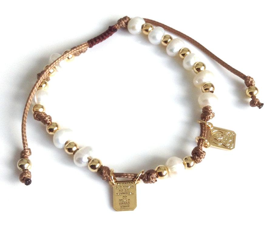 Wedding - Brown Scapular Bracelet, Adjustable Pearl Bracelet, Catholic gift for her, Religious Medals, Catholic Scapular, Pulsera Escapulario Catolico