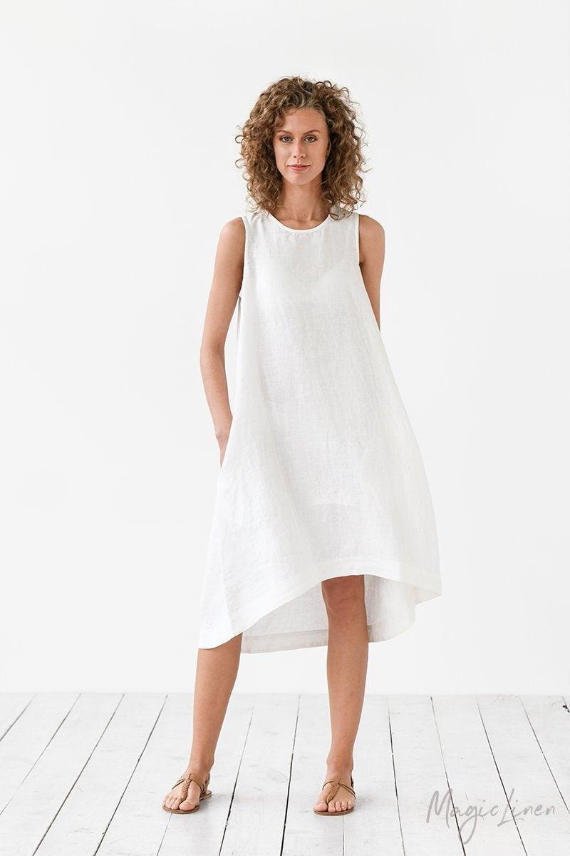 Wedding - White linen dress TOSCANA. Asymmetrical, sleeveless, loose, knee-length linen summer dress. Women's clothing.