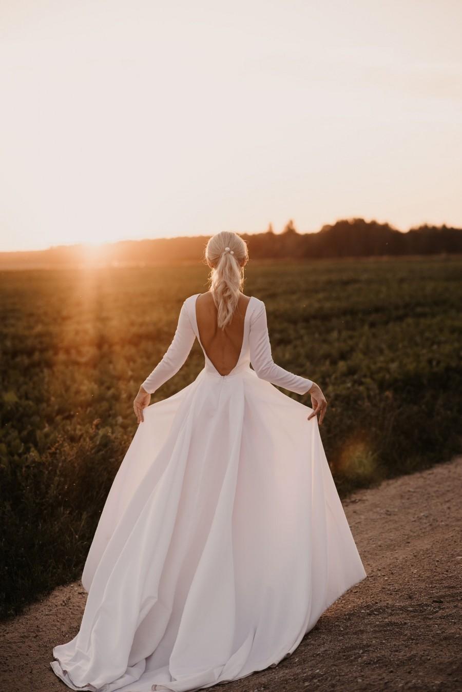 Wedding - Royal open back wedding dress,long sleeve satin dress,boat neckline dress
