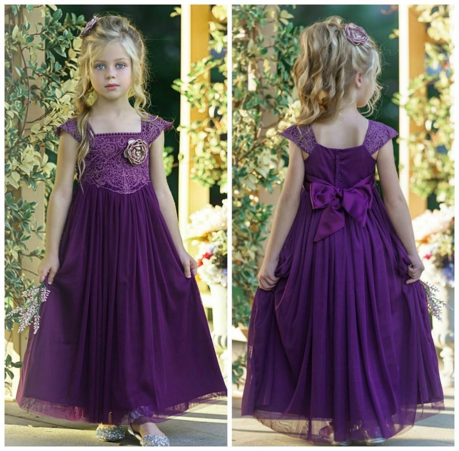 Wedding - Eggplant Lace Flower girl dress, Tulle Rustic flower girl dress, Christmas dress, Flower girl dresses, Purple dress, baby girl lace dress