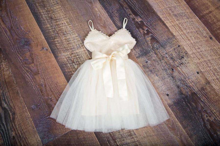 Wedding - Ivory Tulle Flower Girl Dress, Boho Sequin Spring Dress, Beach Wedding, Birthday Girl Dress