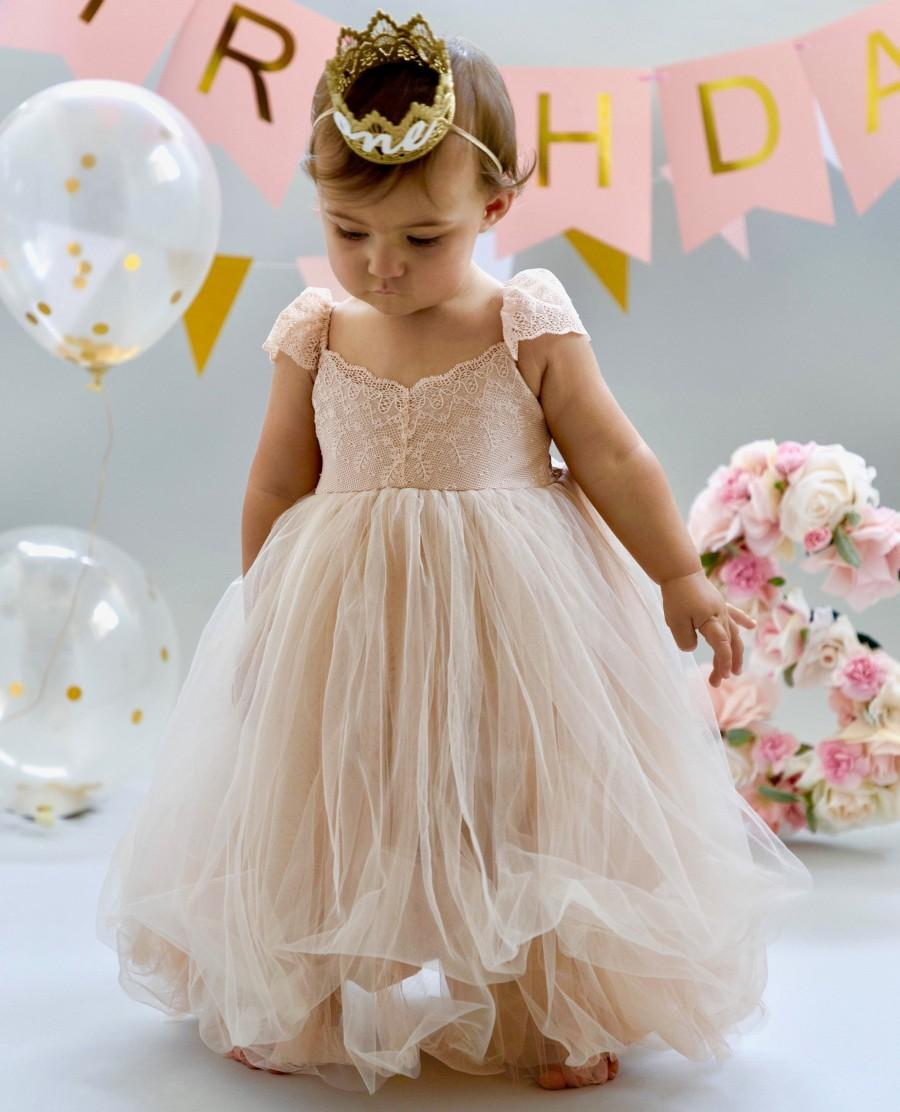 Wedding - Dusty Coral Blush Flower Girl Dress Dresses Girls 1st Birthday Outfit Tulle Tutu Baby Infant Toddler Photoshoot Baby Shower Gown Newborn