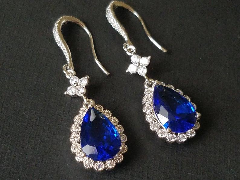 Wedding - Navy Blue Crystal Earrings, Sapphire Blue Teardrop Earrings, Blue Chandelier Earrings, Blue CZ Silver Bridal Earrings, Wedding Blue Jewelry