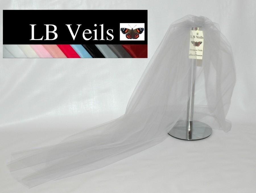 زفاف - Designer Silver Grey Plain Wedding Veil  1 Single Tier Raw Edge Any Length or Colour LBV162 LB Veils UK