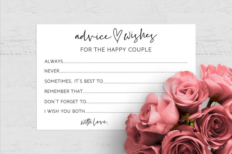 Wedding - Instant Download Wedding Advice Cards, Wishes For The Bride and Groom, Advice For The Happy Couple, 6x4, Print At Home, Marriage Advice, DIY