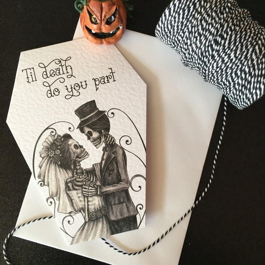 Wedding - NEW COFFIN CARDS -Til Death Do You Part - Alternative anniversary, valentine, love card. Muerte gothic tattoo theme. Goth Day of the Dead