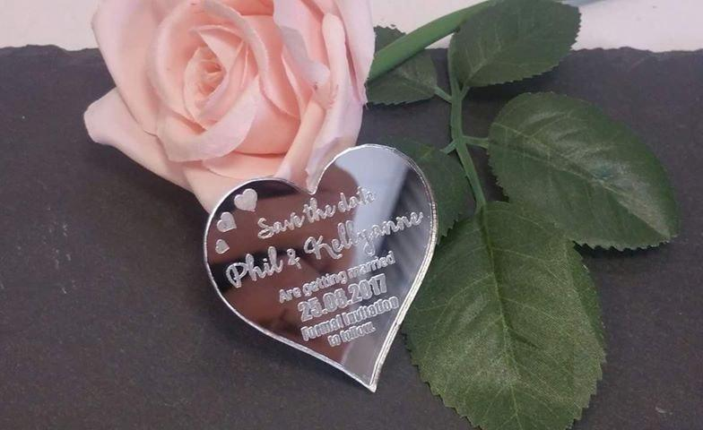 Wedding - Wedding Save The Date Magnets - Mirror Acrylic Heart Style