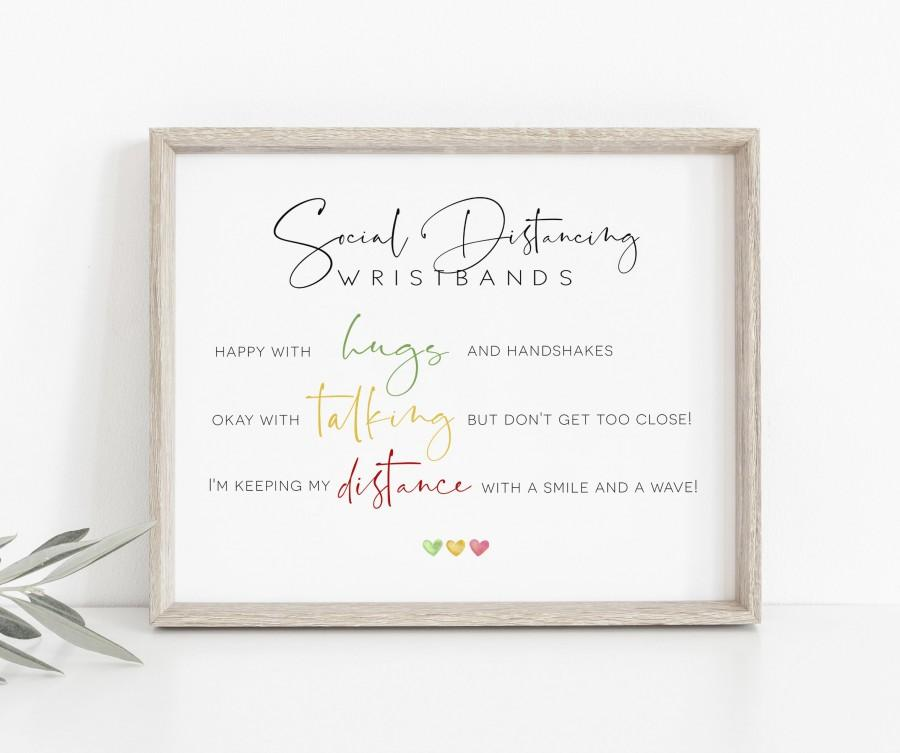 Wedding - Social Distance Wedding Wristband Sign, Color Coded Wristbands Sign, Wedding Covid Signs, Editable Templett Signs, WLP-DRA 3558
