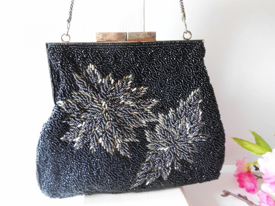 Wedding - Vintage Black Evening Bag, Black Grey Beading, Beaded Clutch Bag, Cocktail Purse, Beaded Handbag EB-0733