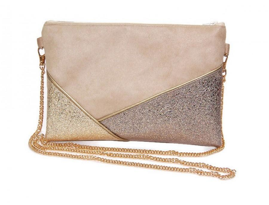 Wedding - Evening pouch, bronze gold beige bag, faux leather sequin - Gift idea - After the Beach ©