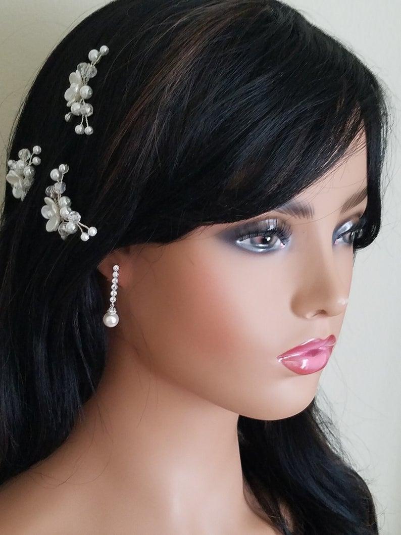 Wedding - Pearl Bridal Earrings, Swarovski 8mm White Pearl Silver Earrings, Pearl Drop Wedding Earrings, Pearl Wedding Jewelry, Pearl Dainty Earrings