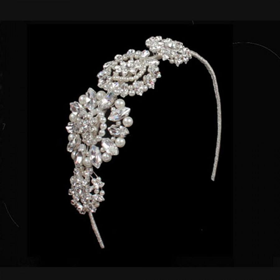 Wedding - Bridal Headpiece, Pearl And Crystal Side Headdress, Wedding Tiara, Bridal Accessories, Wedding Headpiece